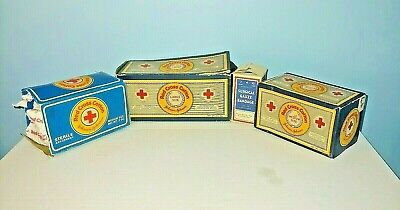 Vintage Lot Of 4 Red Cross Cotton Rolls Johnson & Johnson & Moore Surgical Gauze