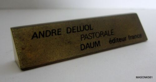 "DISPLAY PLAQUE FOR DAUM FRANCE PATE DE VERRE ""PASTORALE"" FIGURE BY ANDRE DELOUL"