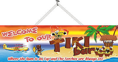 Welcome To Our Tiki Bar Sign Palm Trees Wall Art Home Bar Decor PM006