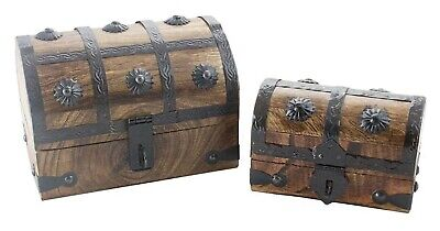 Wood Pirate Treasure Chest Box Set Two in One - Pirate Treasure Chest