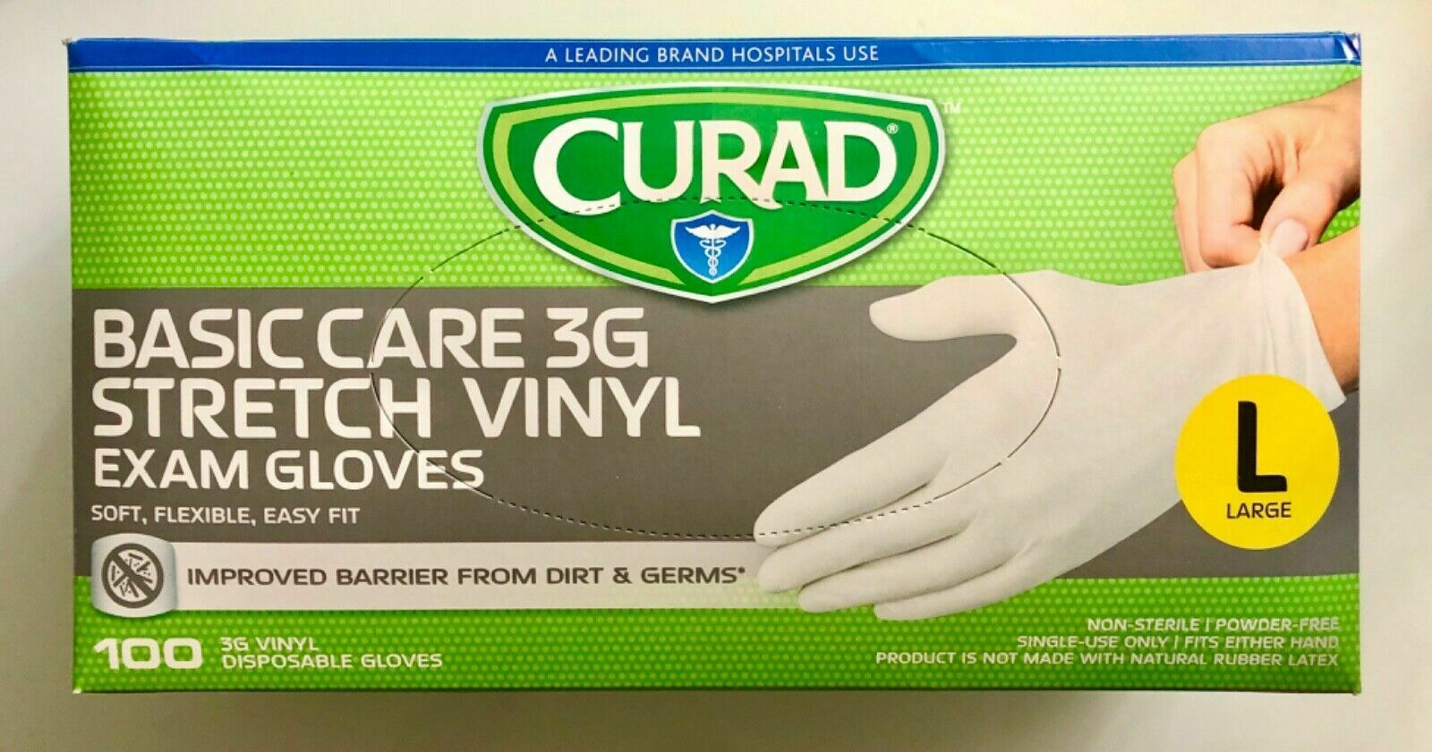 100 Curad Basic Care 3G Stretch Vinyl Exam Gloves Size Lage - $22.98