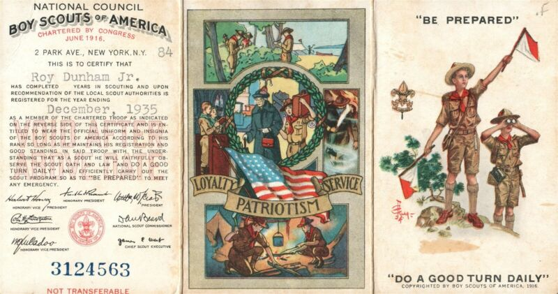 BOY SCOUTS OF AMERICA VINTAGE 1935 CERTIFICATE