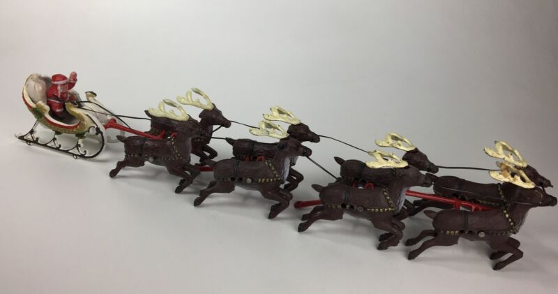 Vintage Cast Iron / Metal Team Of 8 Reindeer Pulling Santa