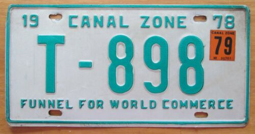 Canal Zone 1979 TRAILER License Plate NICE QUALITY # T-898