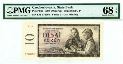 CZECHOSLOVAKIA 10 KORUN 1960 STATE BANK PICK 88 e LUCKY MONEY VALUE $680