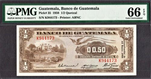 Guatemala 1/2 // 0.50 Quetzal 1958 Pick-35 GEM UNC PMG 66 EPQ HIGHEST GRADE !