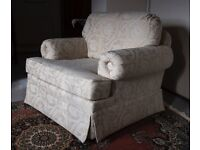 ARMCHAIR, fully upholstered, oversized, neutral colour