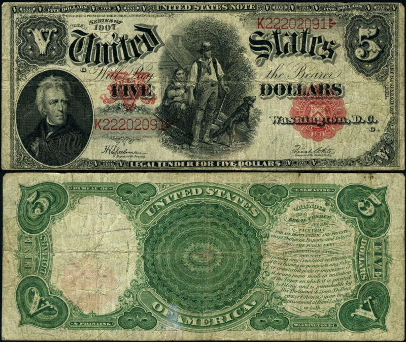 FR. 91 $5 1907 Legal Tender Fine+