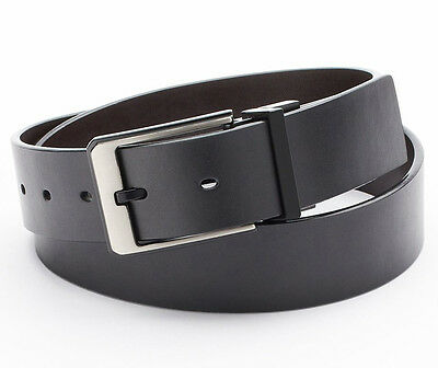 - New APT 9 Mens Black/Brown Reversible Leather Belt Black Edged Satin Buckle $28