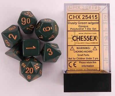 Chessex 7 Dice Set Opaque Dusty Green with Gold CHX 25415 for D&D & D20  for sale  Nolensville