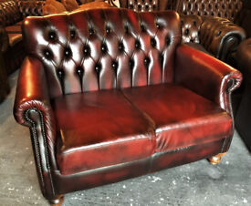 Oxblood leather 2 seater Chesterfield sofa...matching 3 seater also available