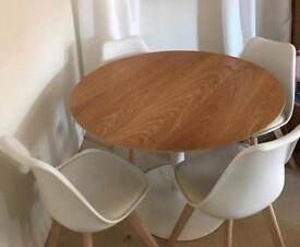 Oak Veneer Table & 4 Chairs