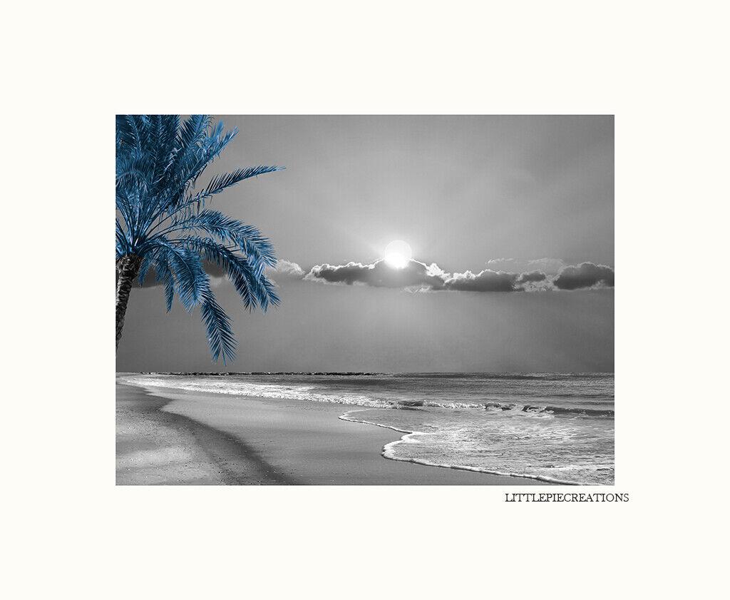 Black White Blue Palm Beach Ocean Moon Coastal Bedroom Bathr