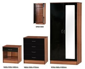 ** FREE DELIVERY ** Alpha High Gloss Black & Walnut Bedroom Trio Mirror Set