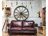 Thomas Lloyds Chesterfield Leather 3 Seater Sofa Ox Blood