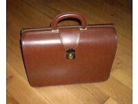 Vintage Brown Faux Leather Briefcase Attaché Case (pbms)
