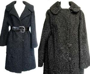 BLACK PERSIAN LAMB Real Fur Coat XL 16 18 Womens Long Jacket Winter Vintage 1950s Free belt & Scarf Mint