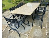 Set of 8 Best Quality Black Cast Aluminium Garden Chairs - 'Reptonian' by Oxley