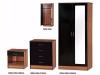 *12 MONTH GUARENTEE* High Gloss Black / Walnut Bedroom Mirror Wardrobe Set With Chest and Side Table