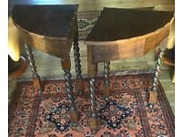 PAIR OF ANTIQUE OAK CORNER TABLES