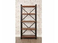 JAVA LARGE INDUSTRIAL BOOKCASE RECLAIMED BOATWOOD OPEN BACK
