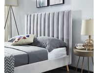 BRAND NEW PLUSH VELVET LUCY BED FRAME IN GREY COLOUR WITH OPTIONAL MATTRESS-CASH ON DELIVERY!!!