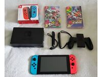Nintendo Switch 32GB Neon Red/Neon Blue with 2nd Controller, Mario Tennis Aces & Splatoon 2