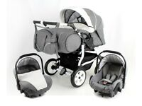 Duostar double pram with carrycots, car seats and rain cover