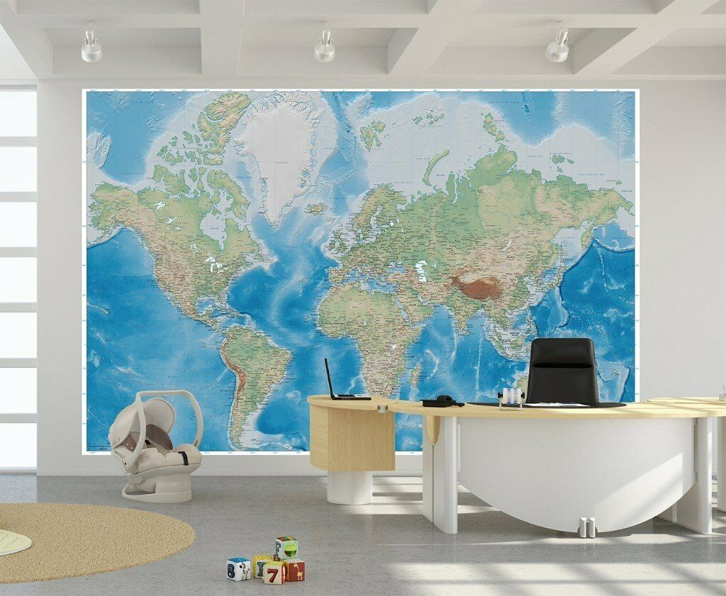 Poster world map wall picture decoration 55 inch x 394 inch poster world map wall picture decoration 55 inch x 394 inch 140 cm x gumiabroncs Choice Image