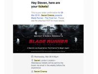 2x Secret Cinema Presents Blade Runner Tickets (28 Mar)