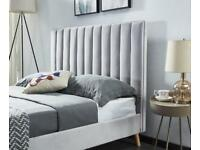 Optional Mattresses-Stylish Plush Velvet Lucy Bed Frame in Cream and Beige Color Options