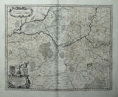 PRINCIPATUS ANHALDINUS ET MAGDEBURGENSIS WAPPENKARTUSCHE JANSSONIUS KARTE 1645