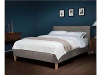 Mona Upholstered King Size Bedframe - Grey