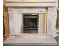 White/Cream Marble Fireplace.