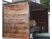 WOOD STORE LARGE HEAVY METAL FRAMED CONSTRUCTION, LITTLE USED CAN DELIVER