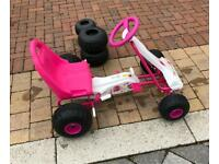 Girls Chain Driven Pedal Powered Pink Go Kart with Extra Wheels RRP £64,99