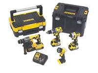 DeWalt 4 piece kit SDS+ Impact+ Brushless+ Torch+ 3xbatteries 18v drill Brand New Never Used