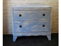 Vintage Shabby Chic Two Drawer Chest of Drawers