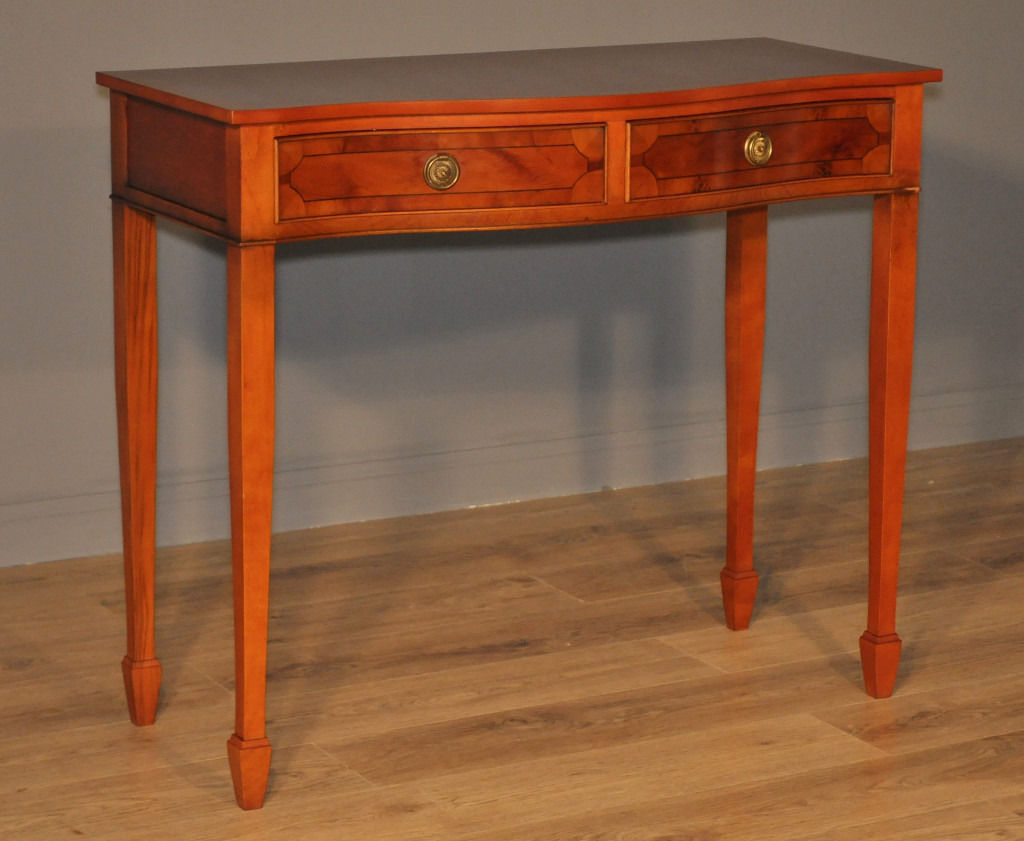 Attractive Vintage Serpentine Front Yew Side Hall Writing Table With Drawers