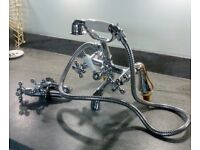 """""""Vintage style"""" bath mixer tap / shower and matching basin taps. Excellent condition."""