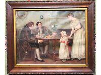 Painting Old Room Scene Men Woman Child Fruit Framed Picture Art Print