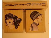 Hero Arts wooden stamps for card making scrapbooking. Vintage ladies design from USA