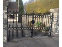 Steel work iron gates and railings glass balustrade