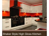 White gloss kitchen genuine offer 10 units plus worktop and accessories ***Whilst stock has cleared*