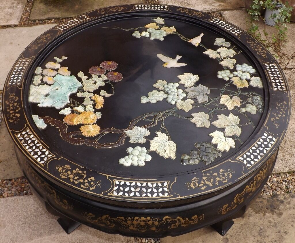 Antique Old Inlaid Oriental Chinese Japanese Coffee Table Carved Stoneother Of Pearl Unusual