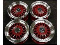 "15"" BBS RS STYLE ALLOY WHEELS CANDY RED"