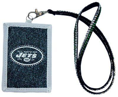 NFL New York Jets Beaded Lanyard Nylon ID wallet Credit Card Pass Holder