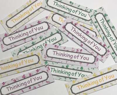 12 THINKING OF YOU Sentiments/Banners Hand Made Card Toppers DELICATE FLOWERS