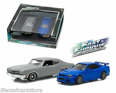 FAST AND FURIOUS 1970 CHEVELLE & 2002 NISSAN SKYLINE SET 1/43 GREENLIGHT 86252