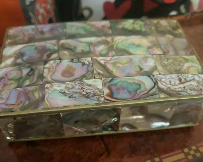Vintage Alpaca Mexico Abalone Shell Jewelry Trinket Box- Great Quality & Detail